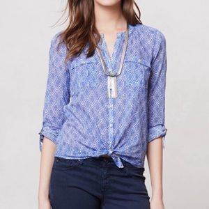 Anthro Holding Horses Blue Diamond Button Up Top